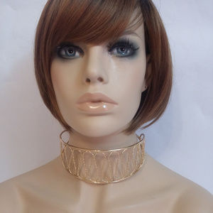 Jewelry - Chunky Gold Hammered Metal Swirl Choker Necklace